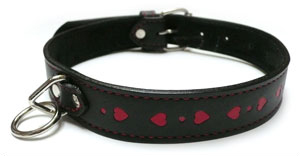 Black Collar With Inlaid Red Hearts