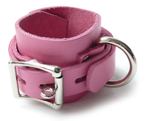 Beautiful Wrist Cuffs In Soft Pink Leather