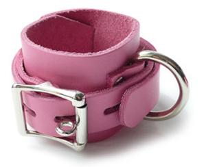 Beautiful Wrist Cuffs In Soft Pink Leather