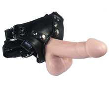 pegging, black leather dildo harness with sensible size dildo