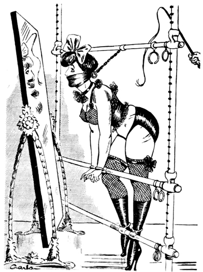 Vintage drawing of woman bound to frame and gagged awaiting a spanking