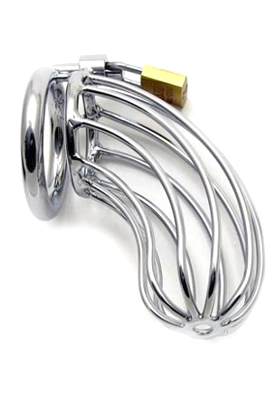 metal male device with closed back ring and cage constructed of vertical bars